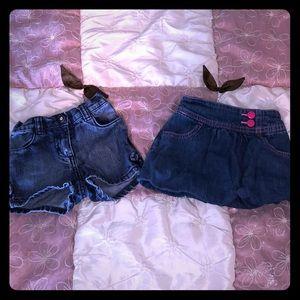 Crazy 8 denim skirt and denim shirt size 12-18 m